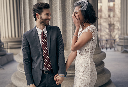 Courthouse wedding with casual bride and groom | David's Bridal