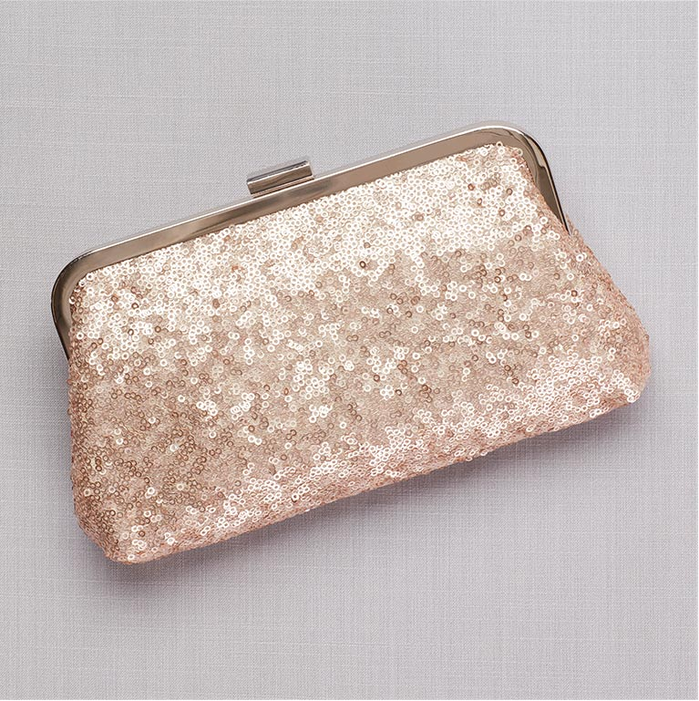 Gold Sequin Evening Pouch