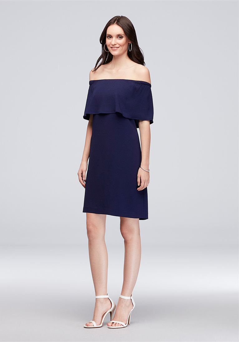 Navy Blue Crepe Off The Shoulder Short Sheath Dress