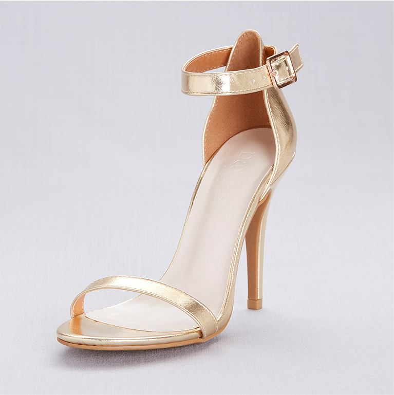 Gold Ankle Strap High Heel Shoe
