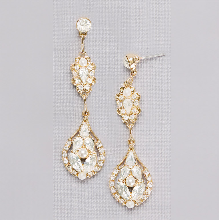 Crystal and Pearl Double Medallion Earrings