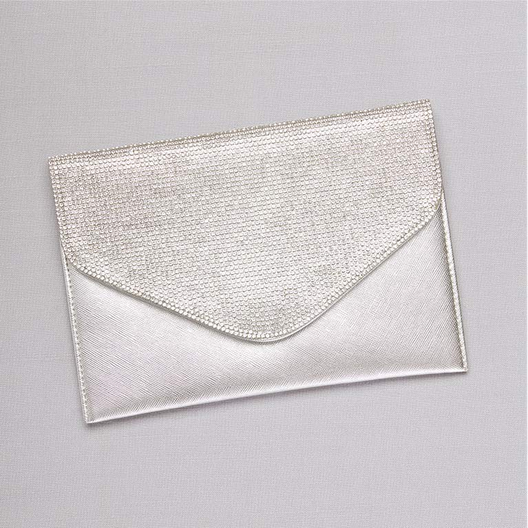 Silver Crystal Flap Envelope Clutch