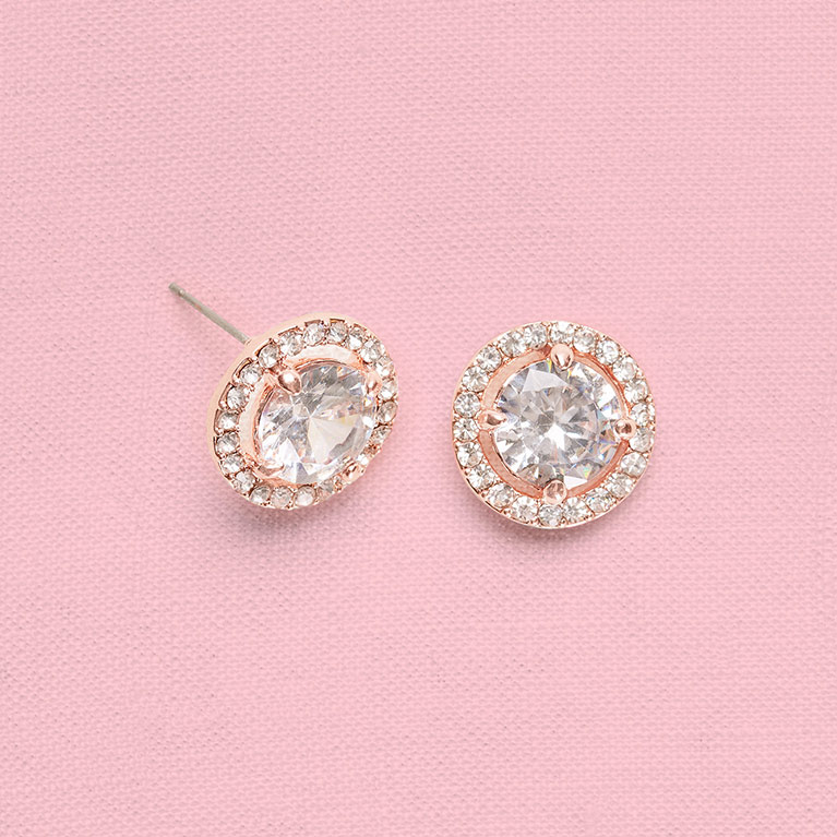 Halo Cubic Zirconia Stud Earrings
