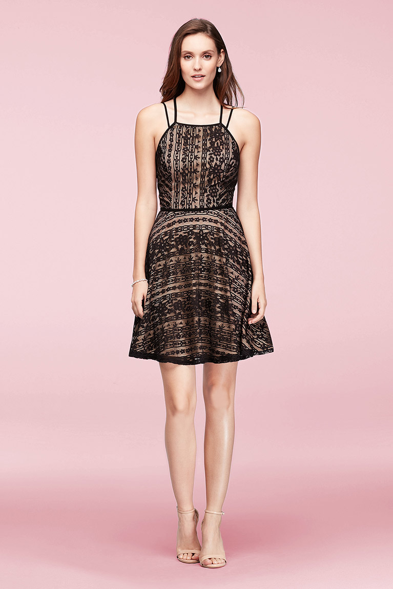 Linear Lace Fit And Flare Dress With Double Straps