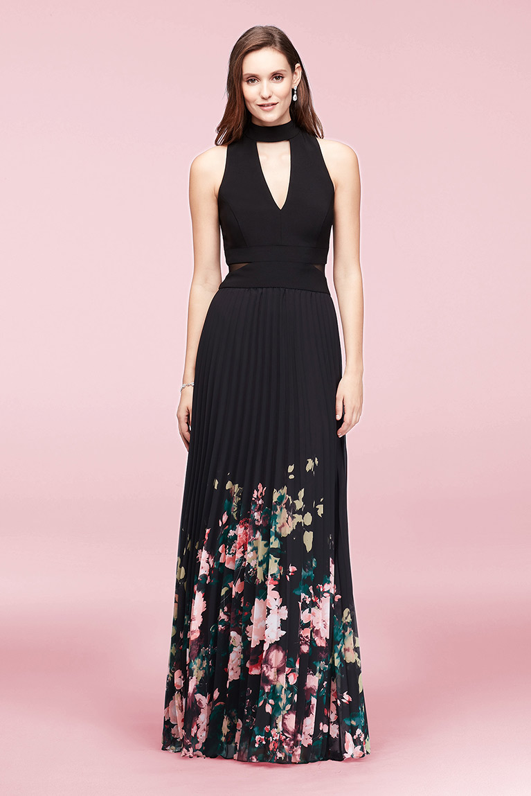 Pleated Floral-Print Chiffon Choker Dress