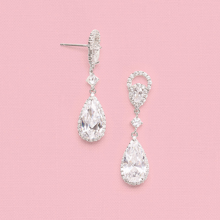 Marquise and Pear Cubic Zirconia Drop Earrings