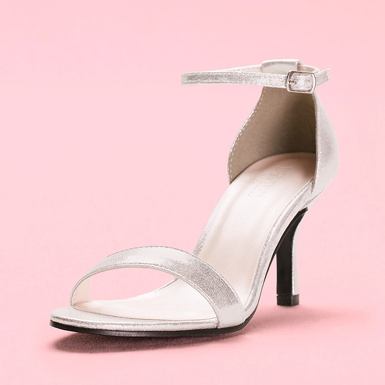 Metallic Silver Single Strap High Heel