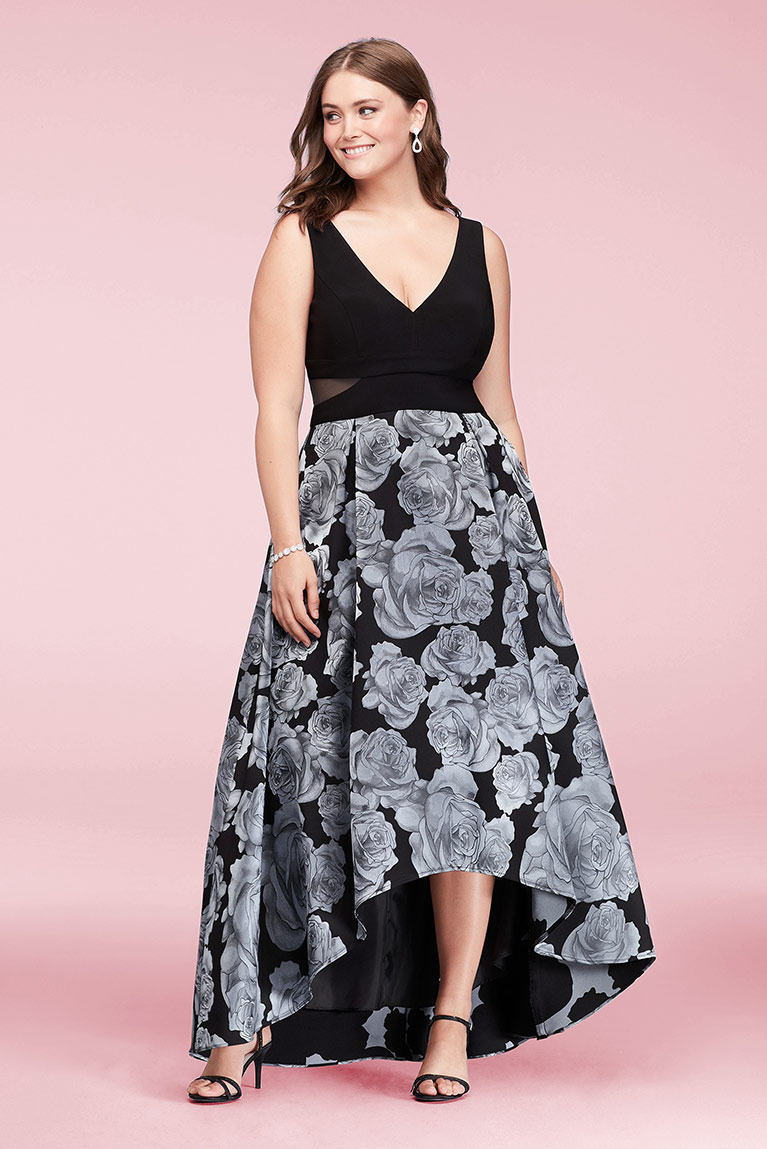 V-Neck High-Low Jacquard Ball Gown with Floral Skirt