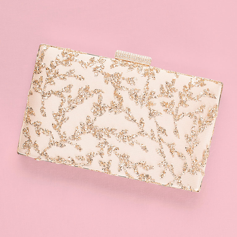 Rose Gold Glitter Leaves Minaudiere