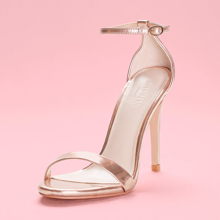 Metallic Gold Single Strap High Heel
