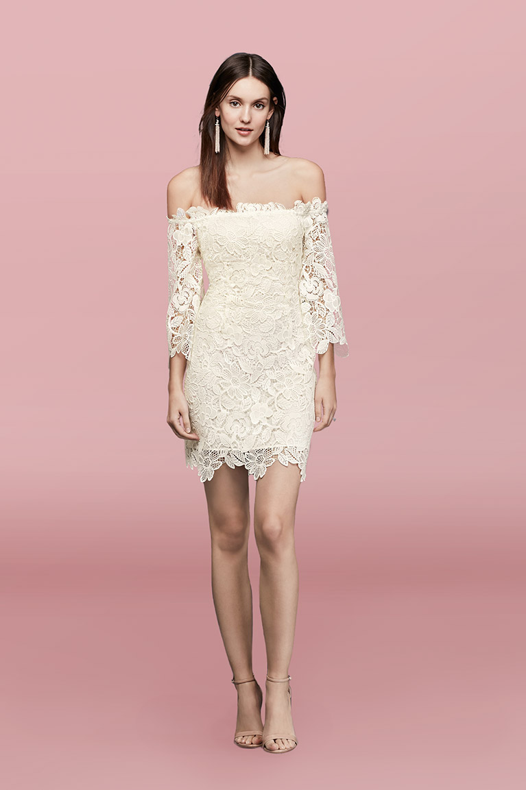 Off-The-Shoulder Short Lace Dress with 3/4-Sleeves