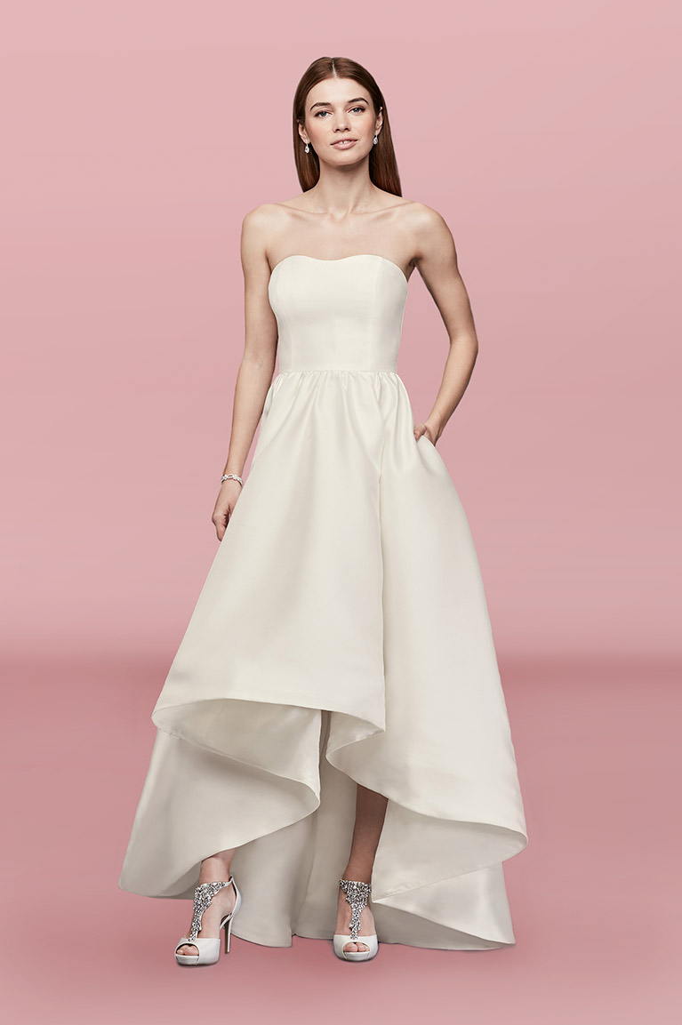 Wedding outfits rehearsal dinner dresses davids bridal mikado high low wedding dress ombrellifo Image collections