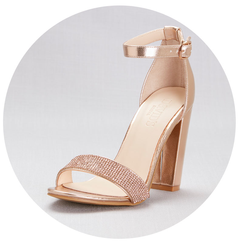 Rose gold strappy heels for bachelorette party.