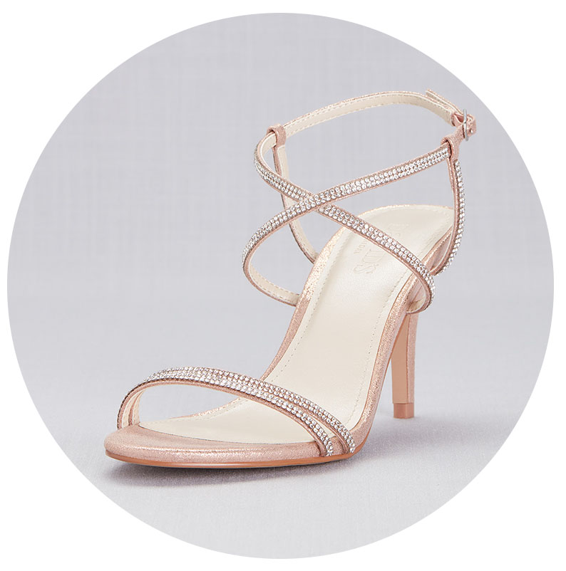 Strappy crystal heels for brides.