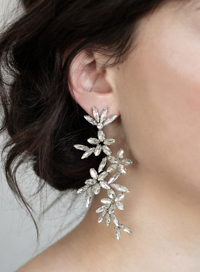 Crystal flowered long earrings.