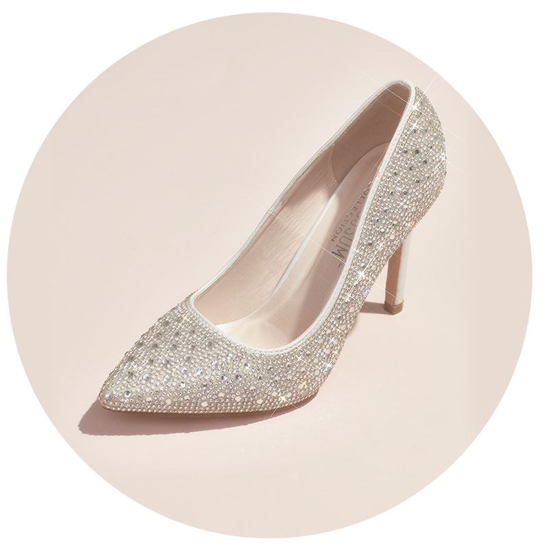 Silver crystal bridal shoes.