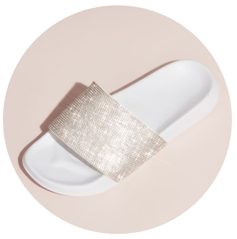 White glittery slide for after party.