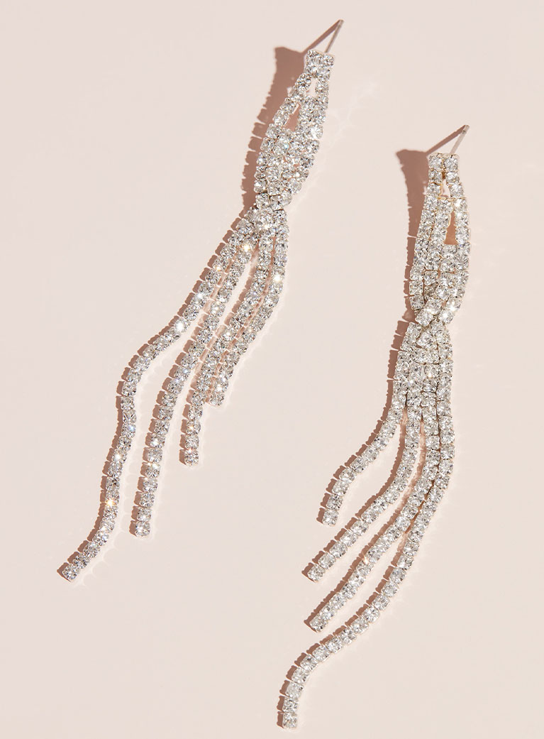 Crystal drop earrings for your engagement party.
