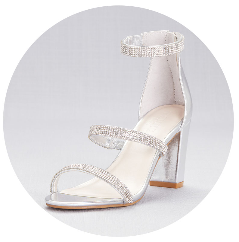 Silver strappy heels for your engagement party.