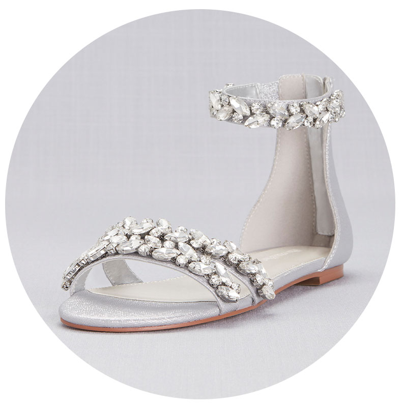 Silver sparkly sandals for bridal shower.