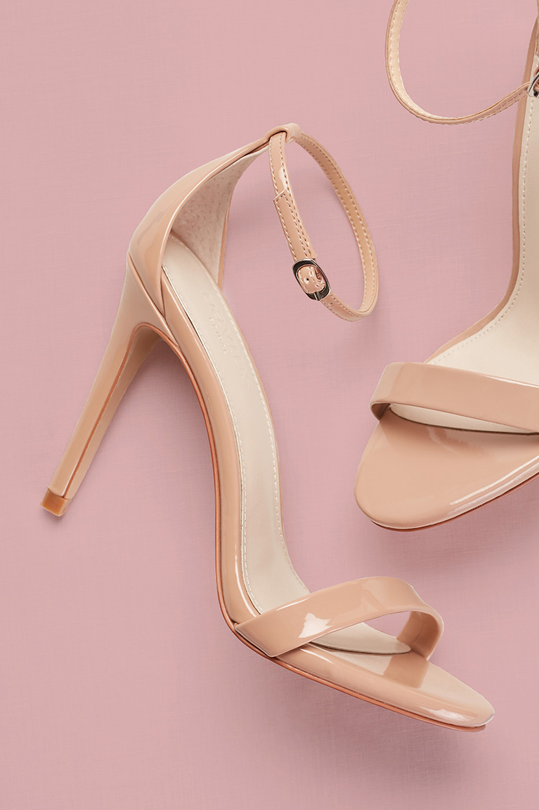 Nude patent leather strappy sandals