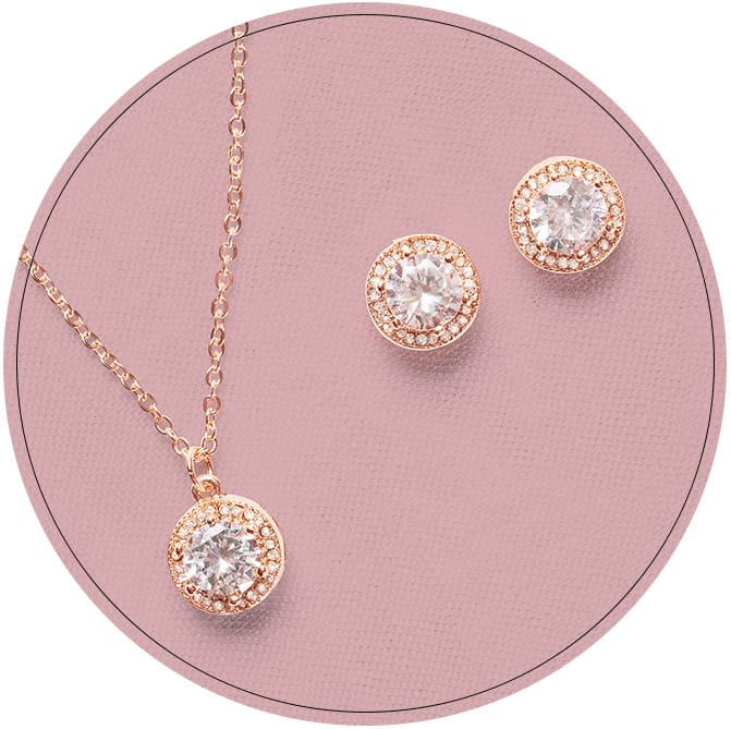 Rose Gold necklace with matching earring studs