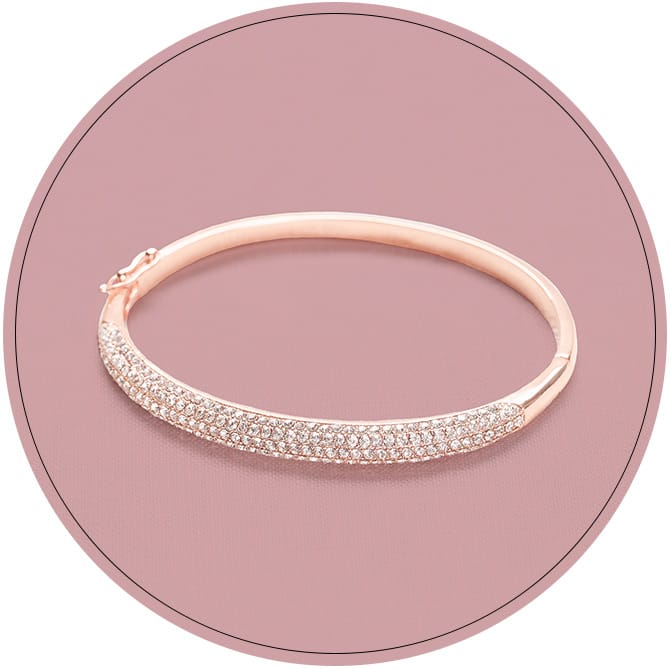 Sparkly rose gold bangle