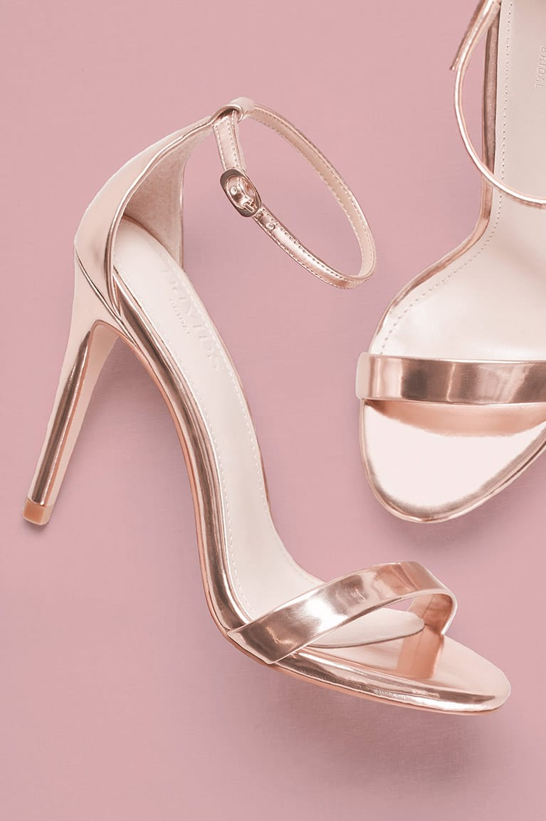Strappy rose gold metallic sandals