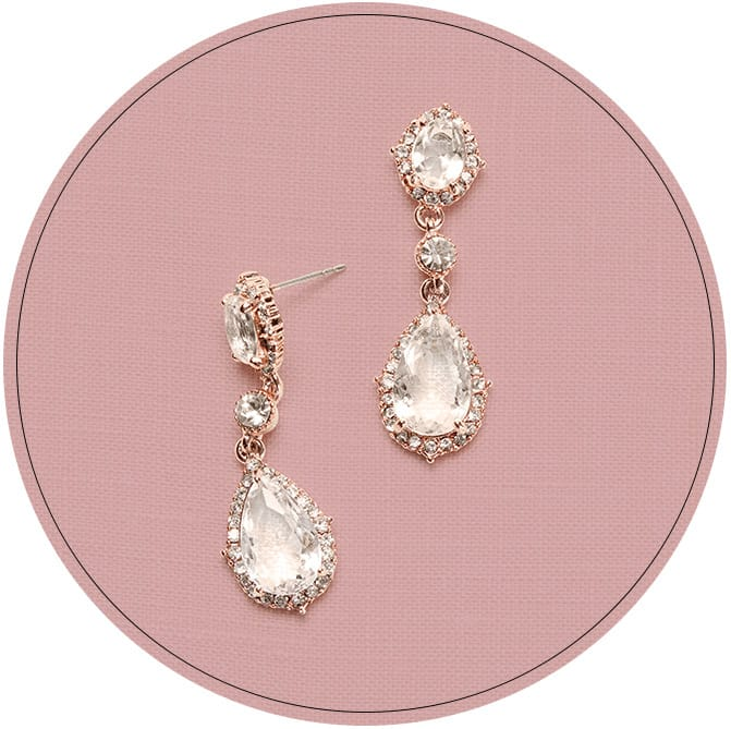 Teardrop crystal earrings with rose gold posts