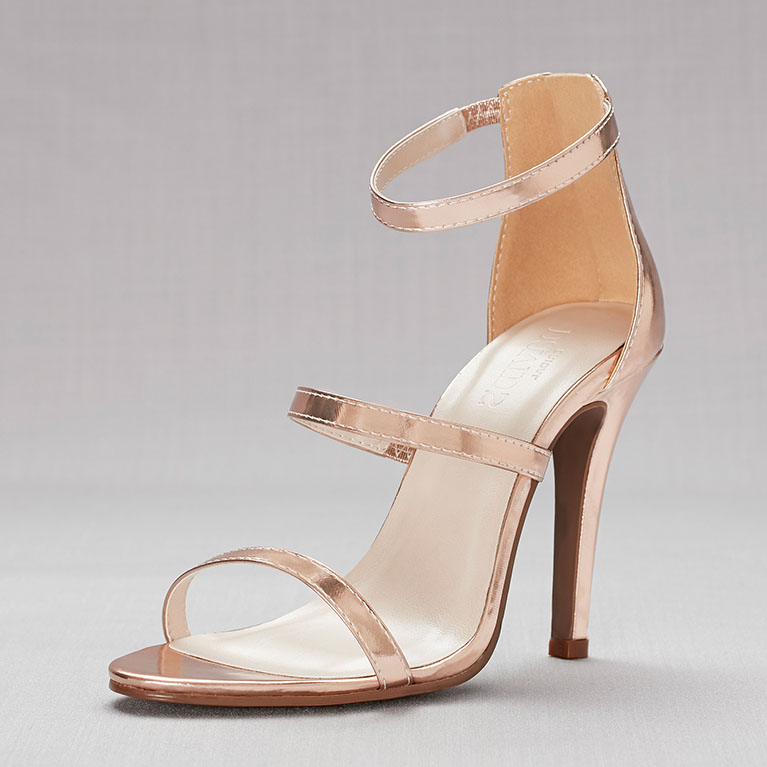 gold high-heeled sandals