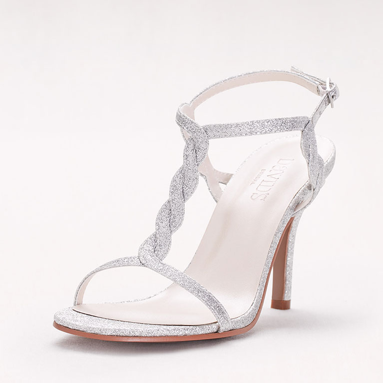 silver high heeled sandal