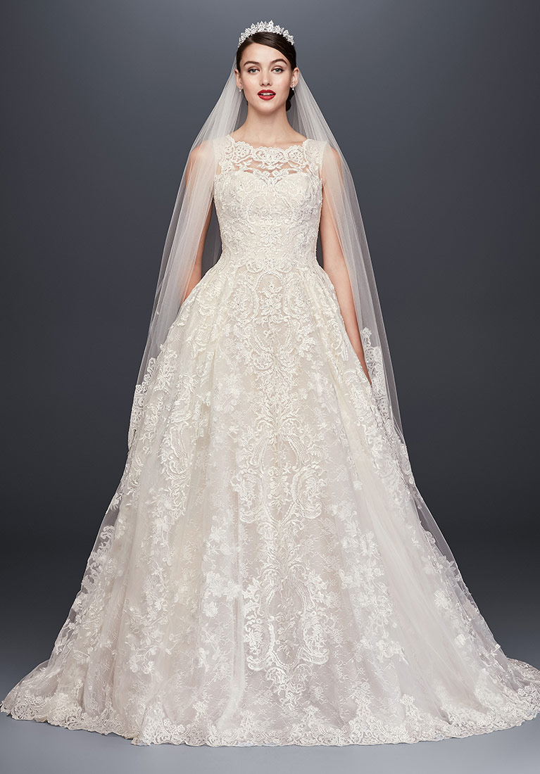 Oleg Cassini High Neck Tank Lace Wedding Dress