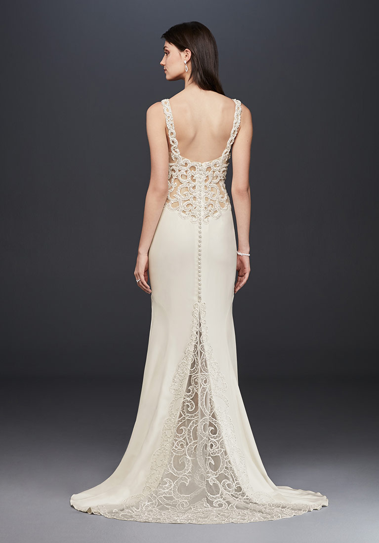 Winter wedding dress styles ideas davids bridal beaded illusion and crepe sheath wedding dress junglespirit Image collections
