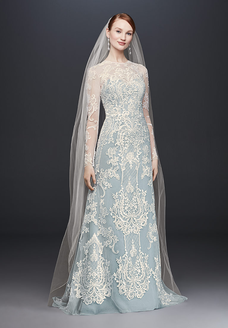 Blue Illusion Lace Long Sleeve Sheath Wedding Dress