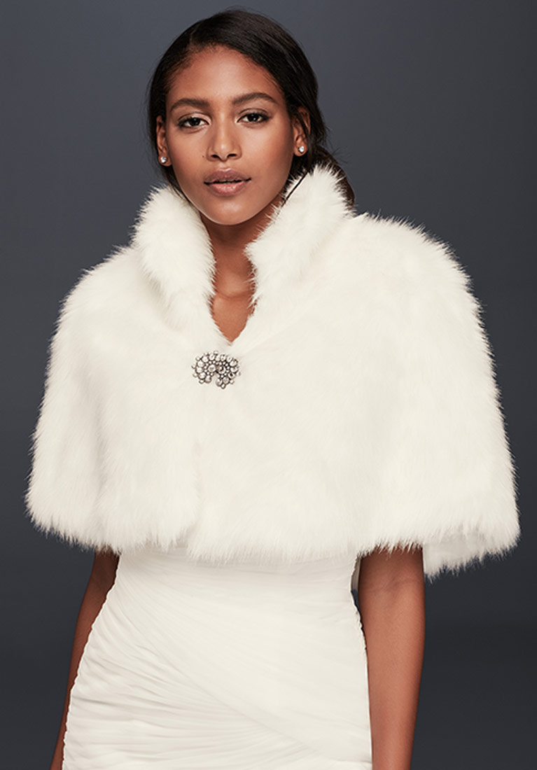 Faux Fur Capelet With Jeweled Brooch