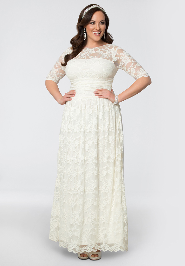 Winter wedding dress styles ideas david 39 s bridal for Plus size champagne colored wedding dresses