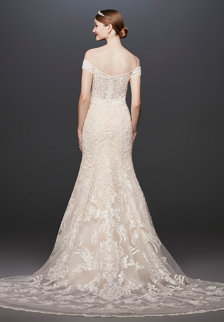 Back view of lace off the shoulder wedding dress