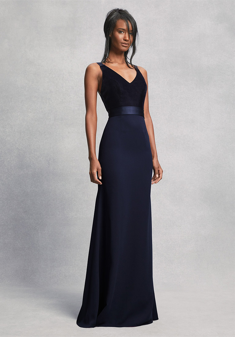Navy Blue White By Vera Bridesmaid Dress