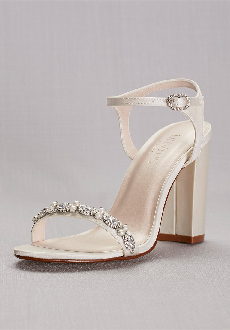 Embellished Satin Block Heel Shoe with crystals and pearls