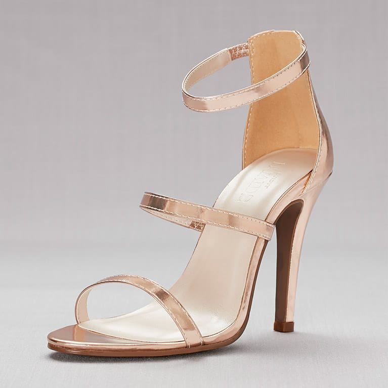 rose gold high-heeled sandal