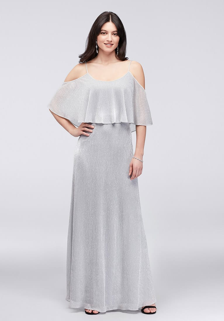girl in long silver off-the-shoulder dress