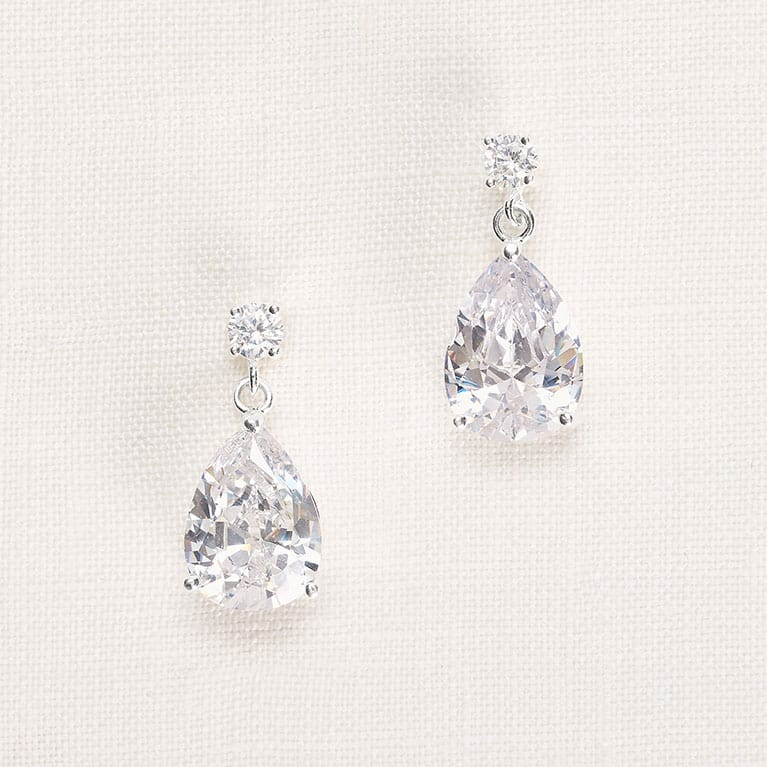 diamond pear earrings