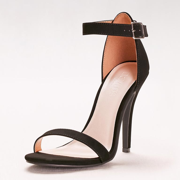 black high-heeled sandal
