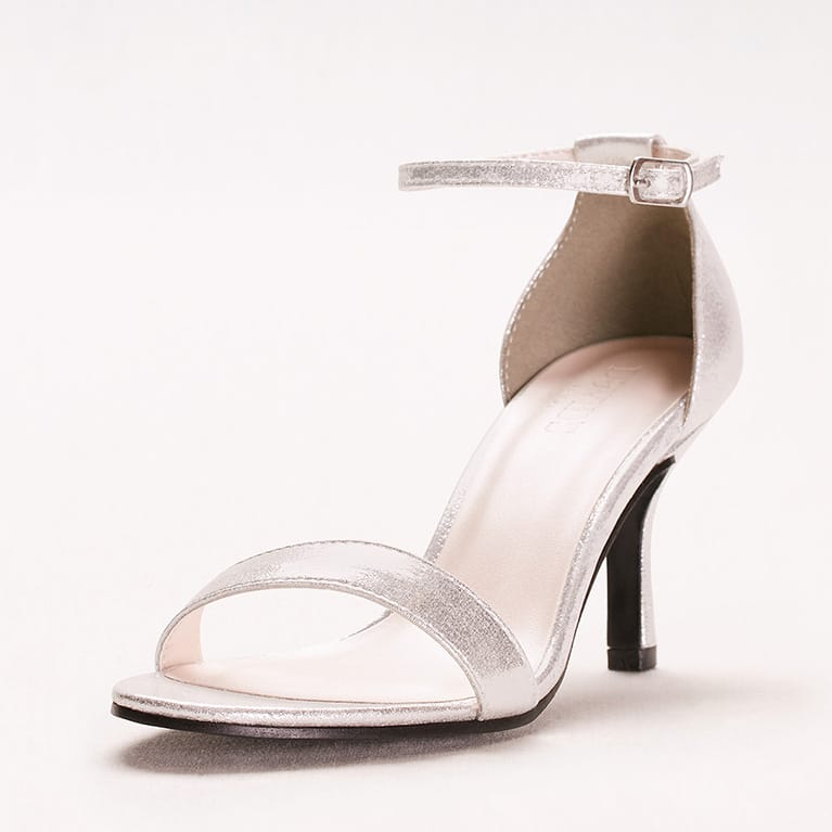 silver high-heeled sandal