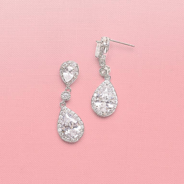 Silver Filigree and Crystal Drop Earrings