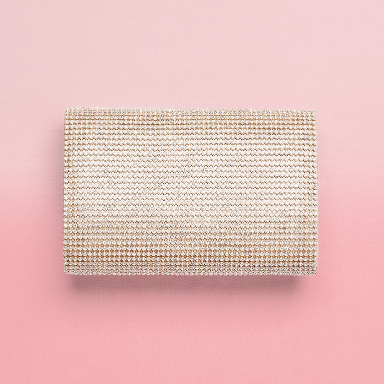 Small Gold Crystal Mesh Clutch