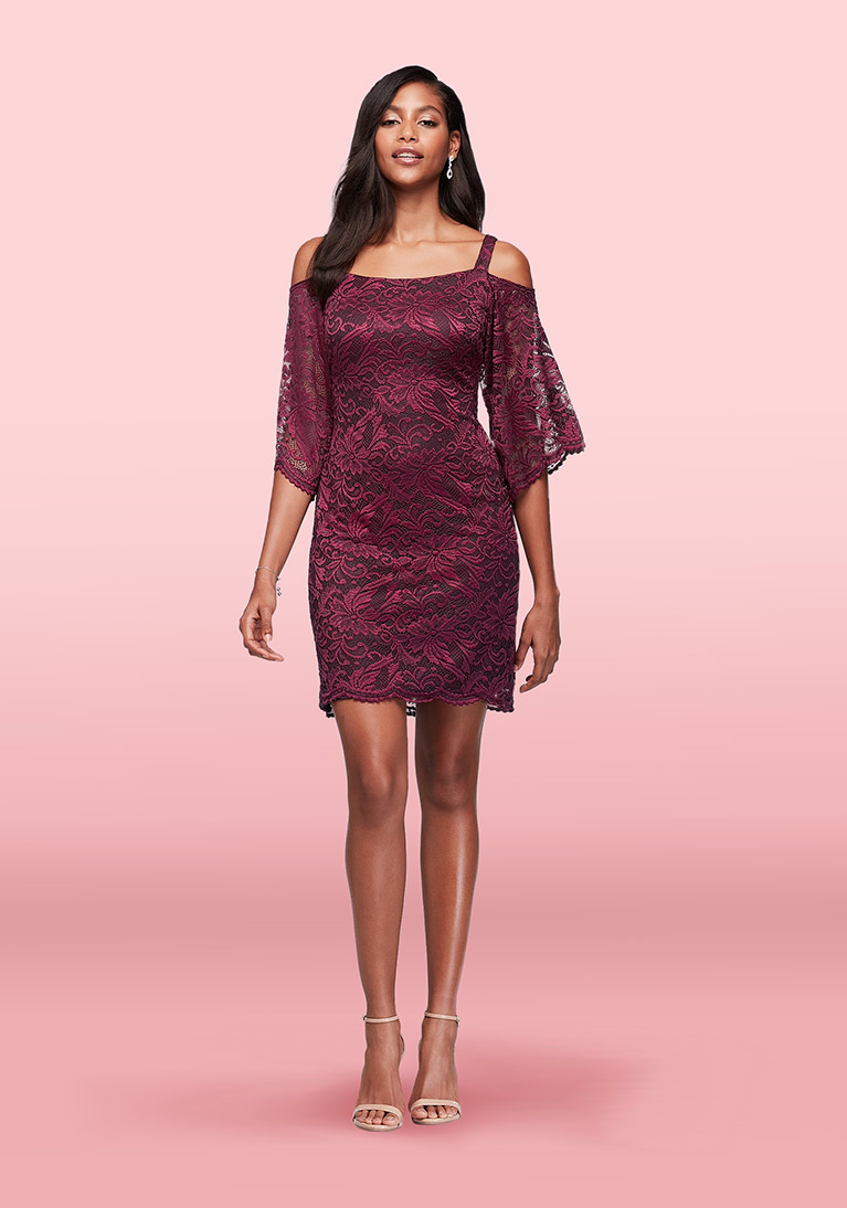 Wine colored cold-shoulder lace sheath dress
