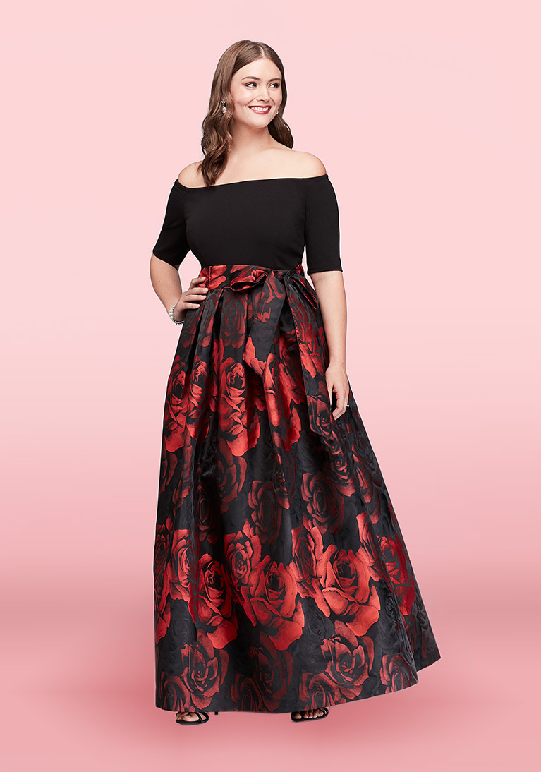Off the shoulder jacquard ball gown with red floral skirt