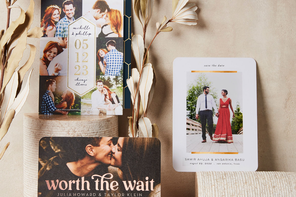 Save the Date stationery with photos and hearts