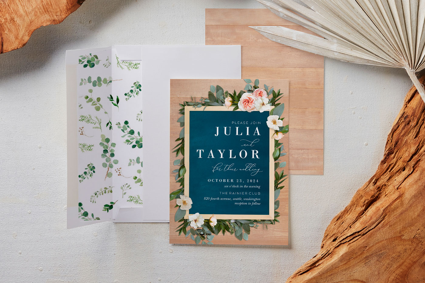 Colorful invitations with a bouquet of flowers